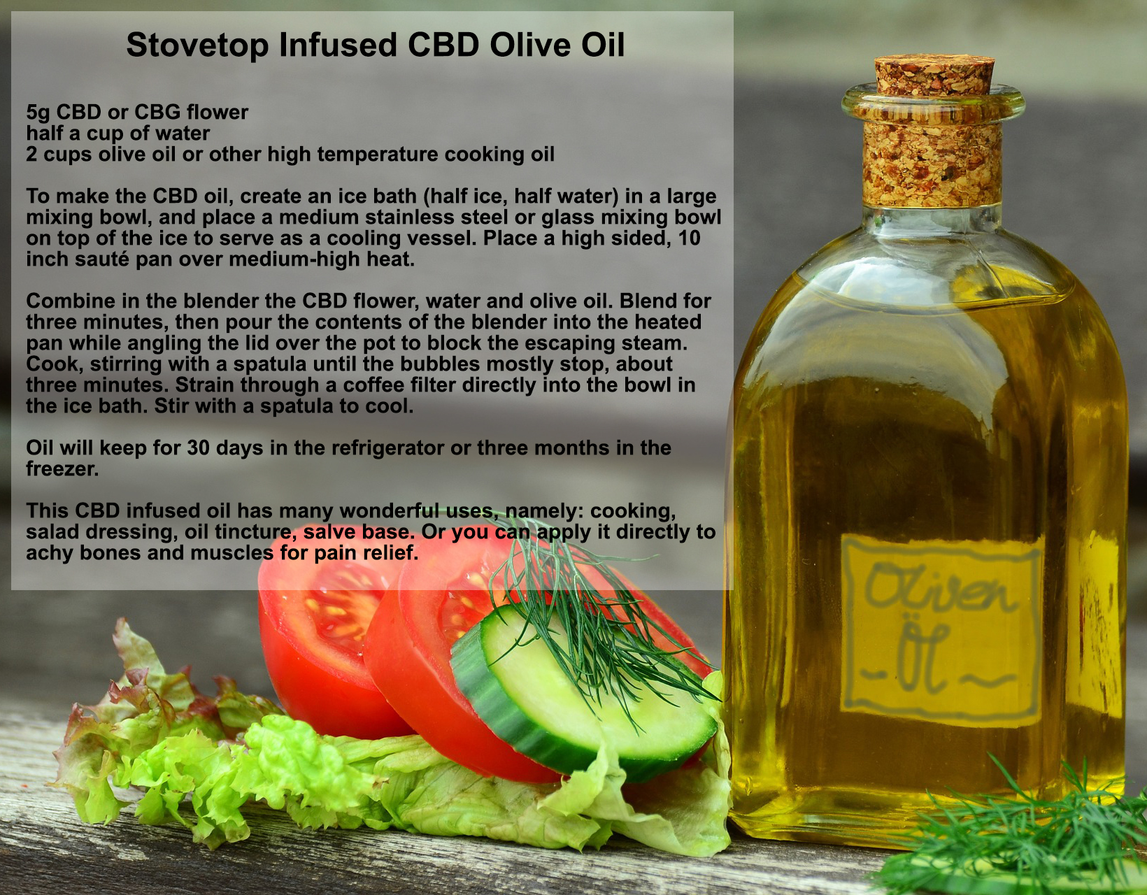 how to make CBD infused olive oil